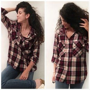 Zara plaid button top long sleeves top